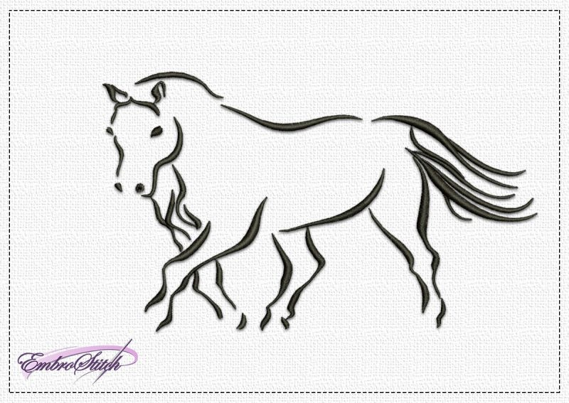 The embroidery design Jogging Horse depicts this beautiful animal running unhurriedly.