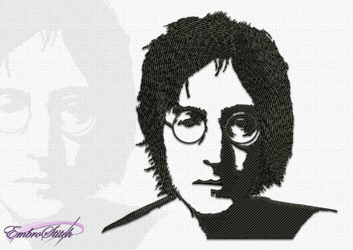 The embroidery design John Lennon is quite simple and elegant.