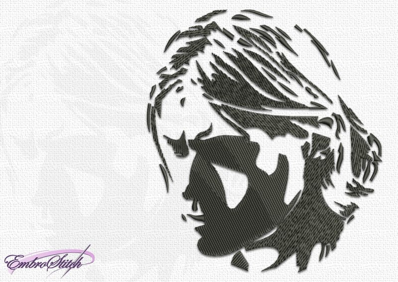 The embroidery design Kurt Cobain portrays him lost in thought