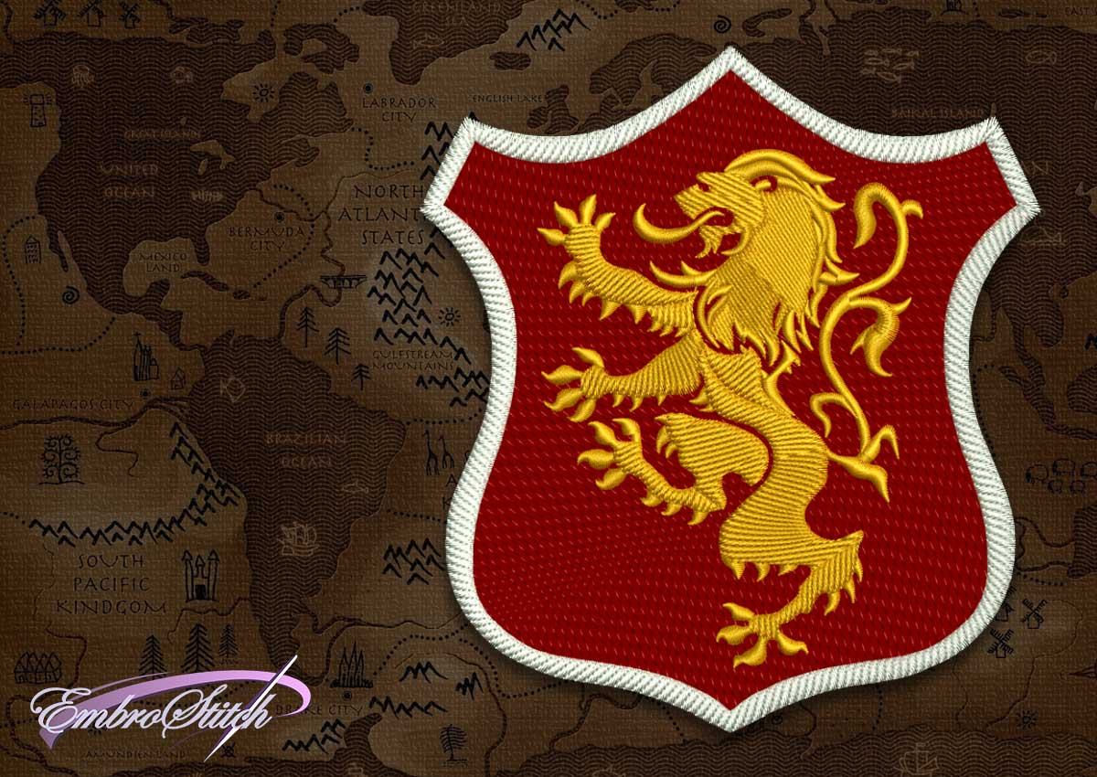 The embroidery design Lannister shield from Game of Thrones is created as patch applique.