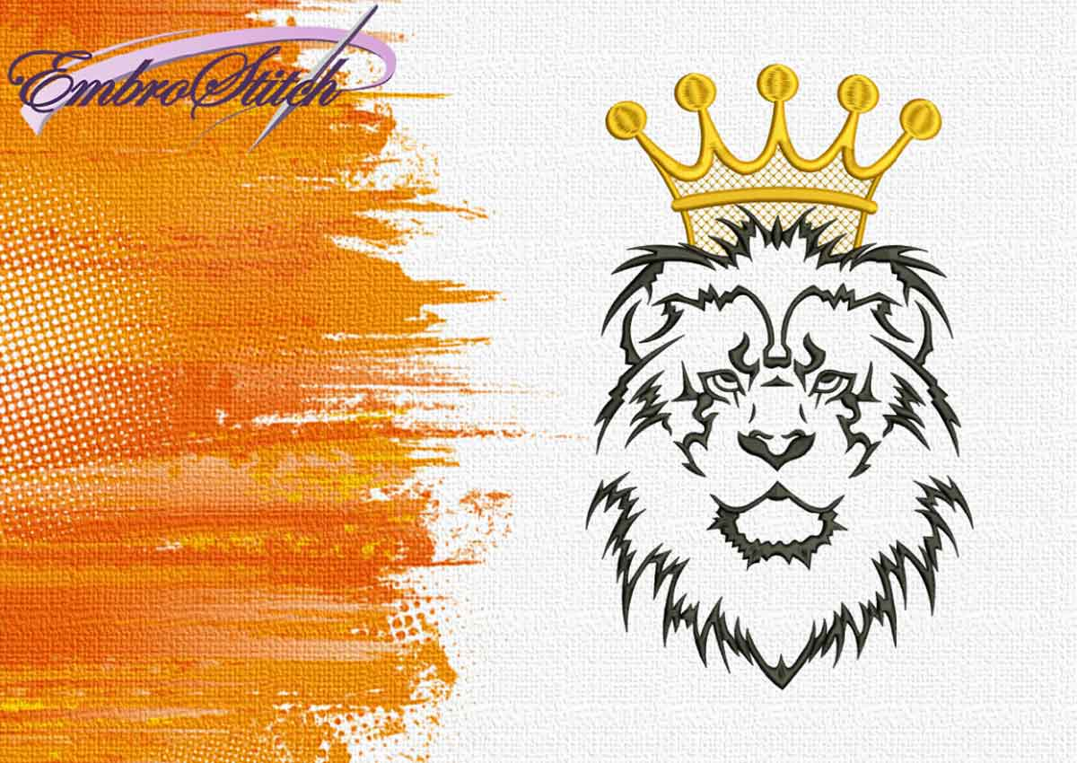 The embroidery design Leo in crown by EmbroStich