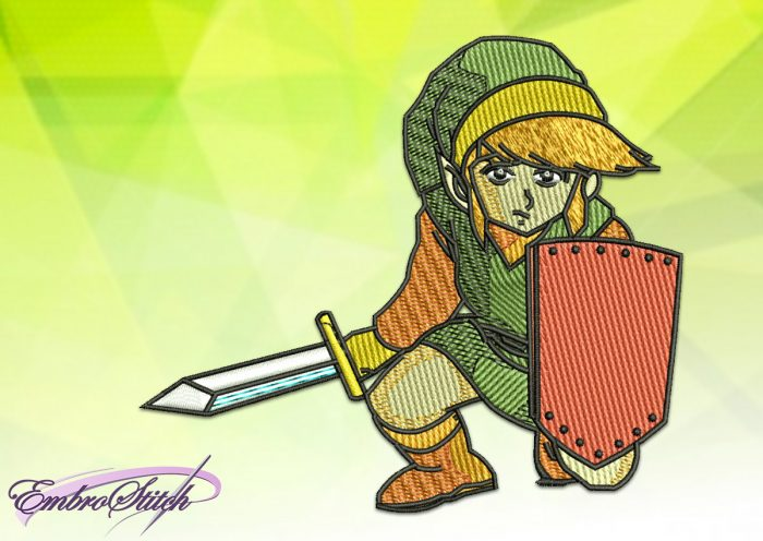 The embroidery design Link of The Legend of Zelda is depicted a boy of an elf-like Hylian race