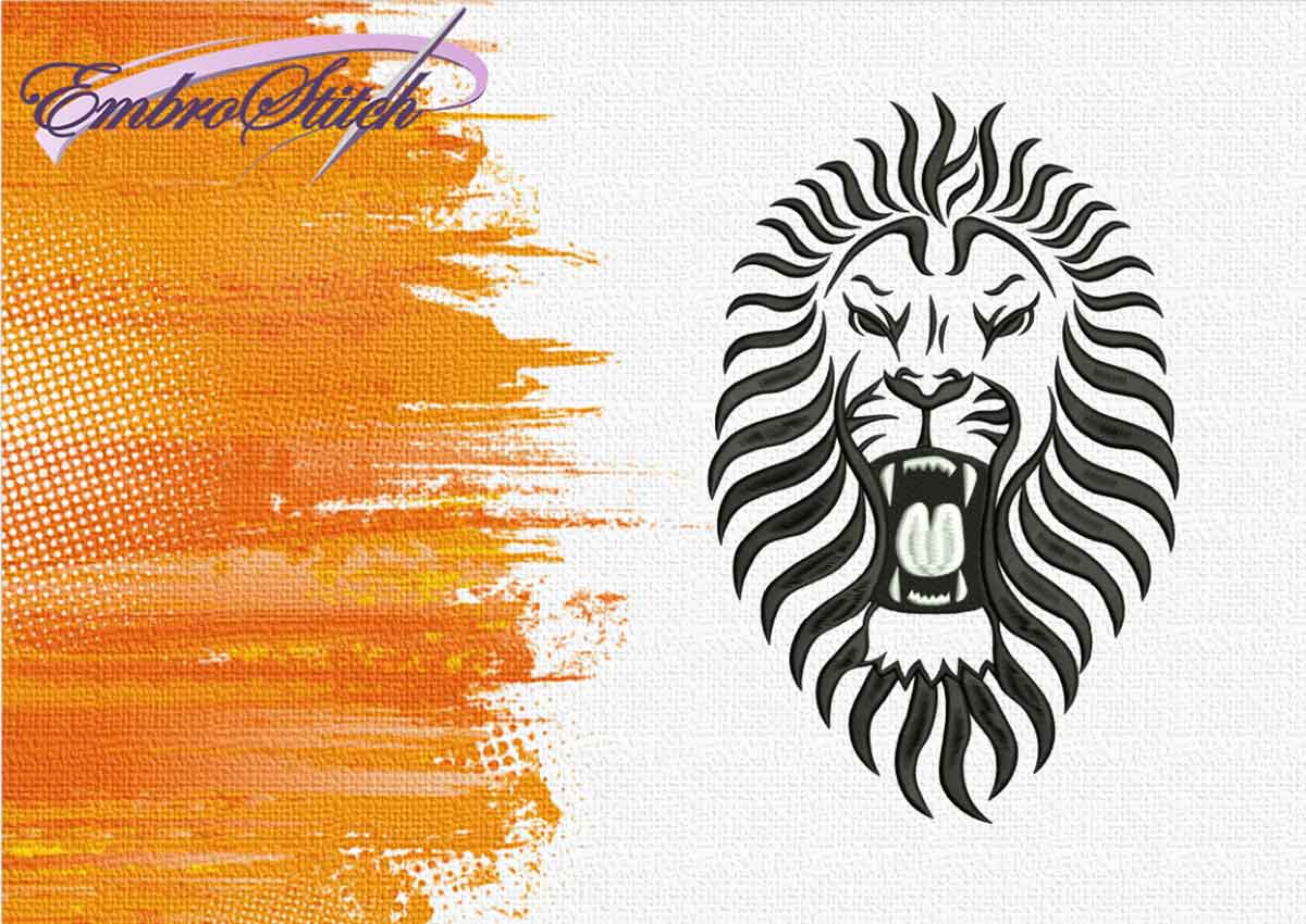 The embroidery design Lion with open mouth by EmbroStich