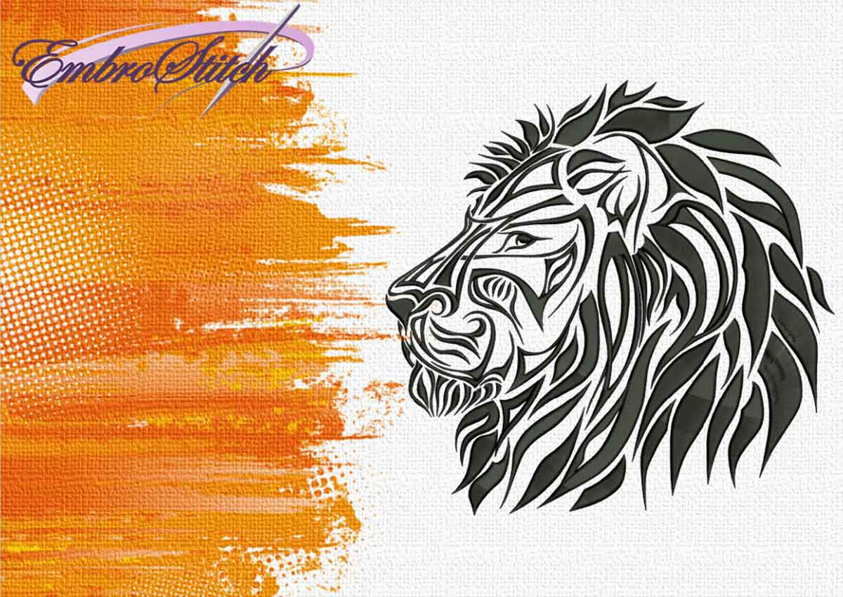 The embroidery design Lions head in profile by EmbroStich