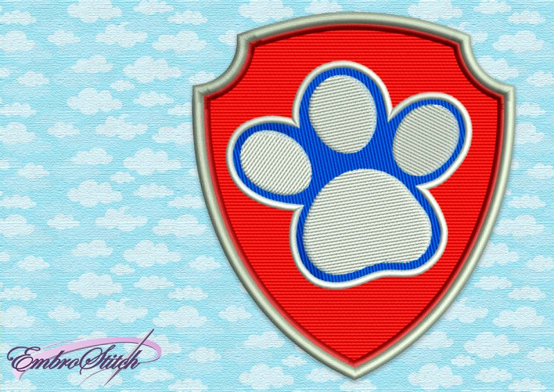 The embroidery design Paw Patrol Logo of Dogs Paw is instantly downloadable