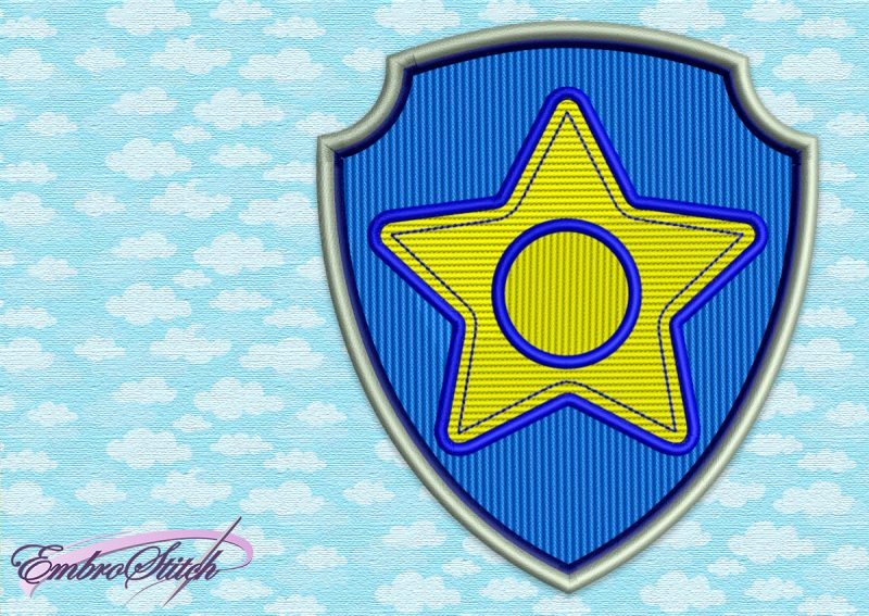 The embroidery design Paw Patrol Logo of Chase was digitized in EmbroStich Studio