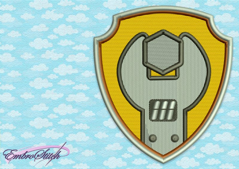 The embroidery design Paw Patrol Logo of Rubble will definitely please your child.