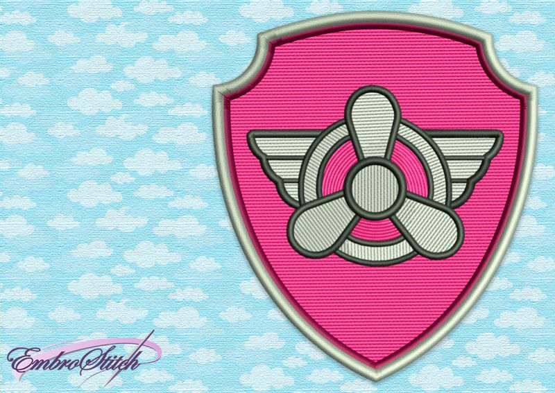 The embroidery design Paw Patrol Logo of Skye the favorite doggie of all the girl fans