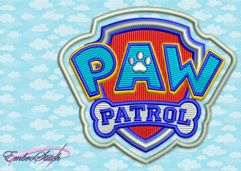 The embroidery design Paw Patrol Logo was digitized in 5 sizes
