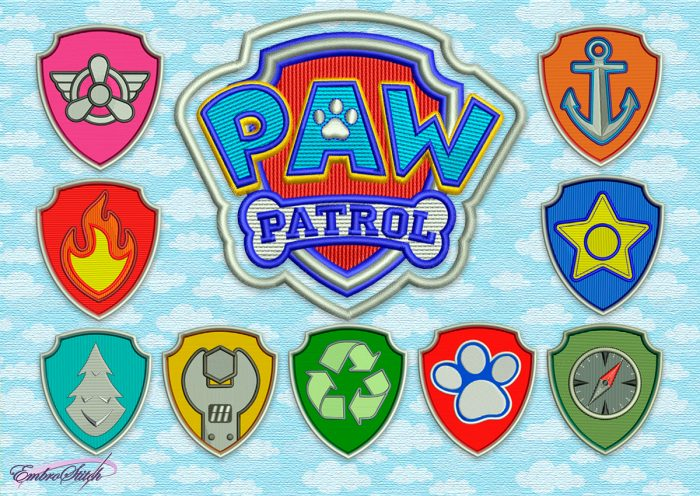 The pack of embroidery designs Logo from Paw Patrol series