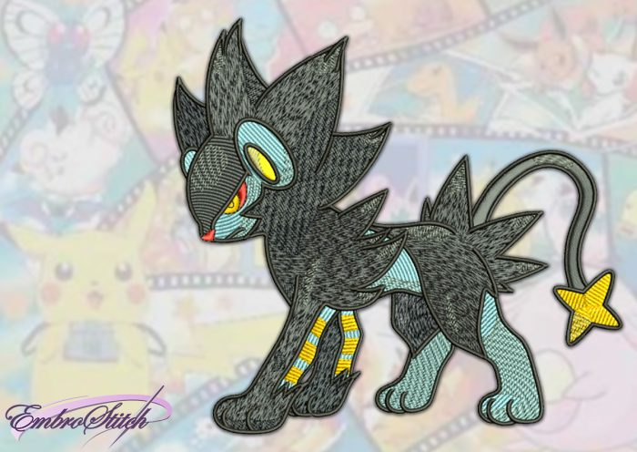 The embroidery design Luxray Pokemon provides as instantly downloadable file
