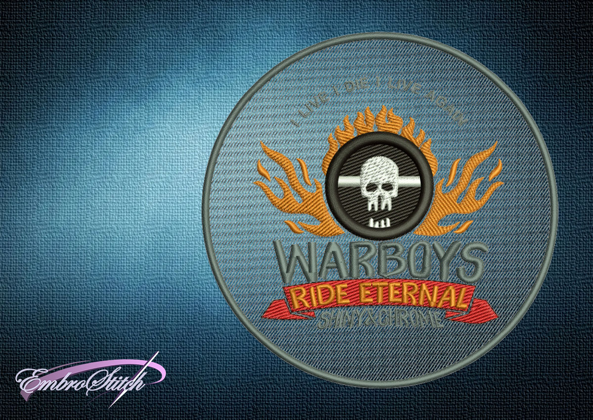 The embroidery design Mad Max Fury Road Warboys Emblem can be made as a patch, or embroidered on clothes.
