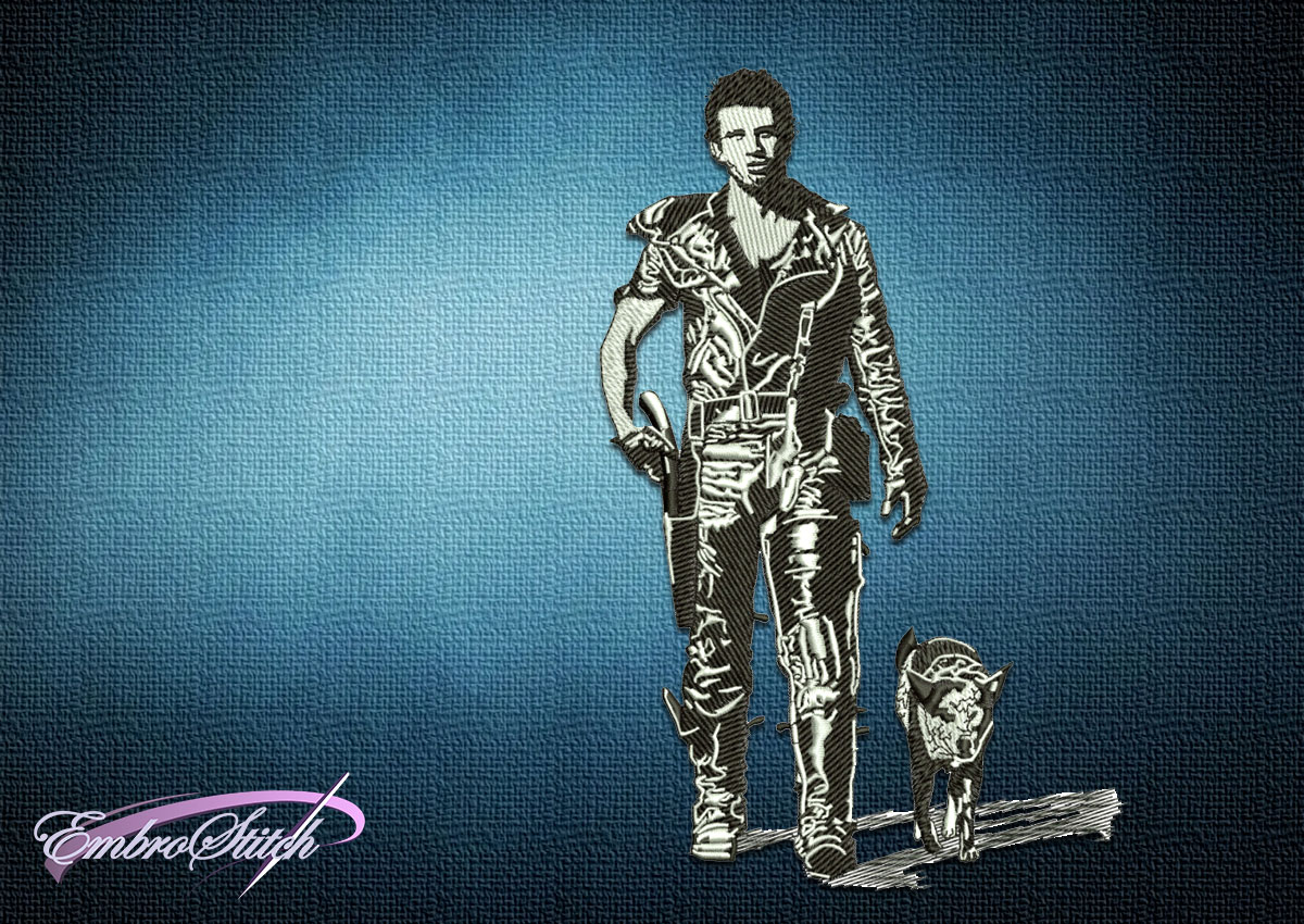 The embroidery design Mad Max and Dog was created in minimalist style using only 3 colors.