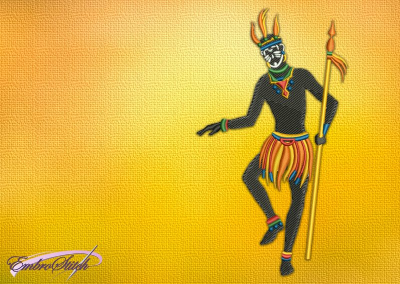 The embroidery design Man with spear was created in EmbroStich Studio