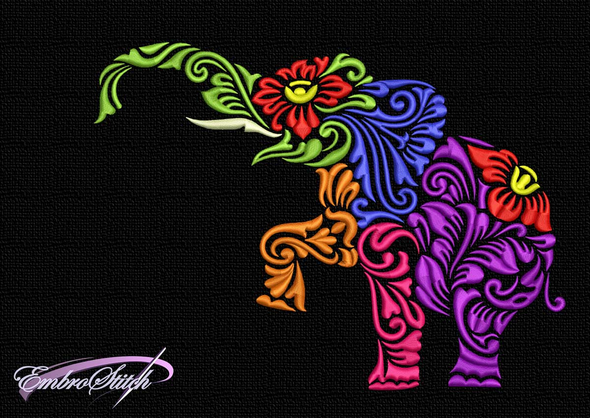 The embroidery design Many-colored stylized elephant