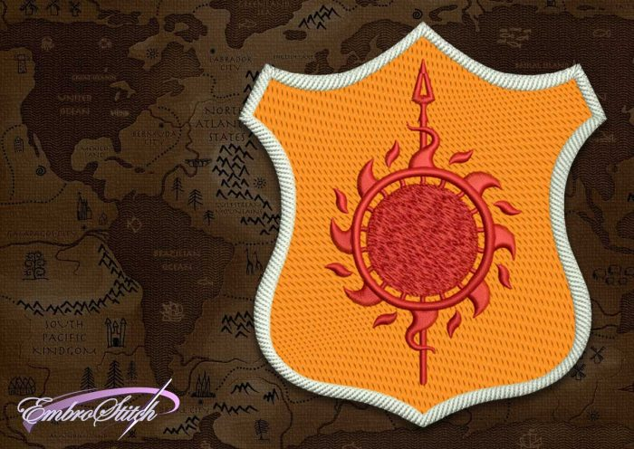 The embroidery design Patch Applique Martell shield from Game of Thrones was tasted by EmbroStich Team.