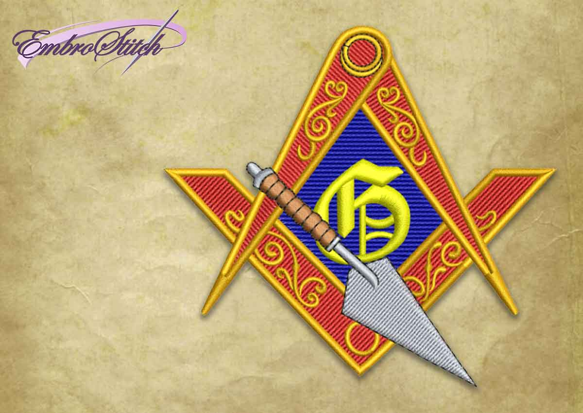 The embroidery design Masonic logo with trowel