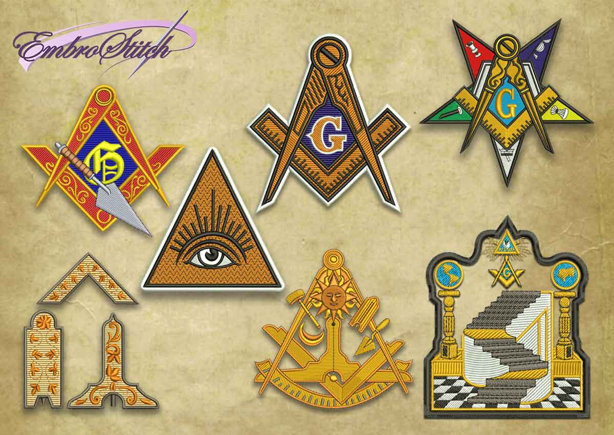 The pack of embroidery designs Masonic logos