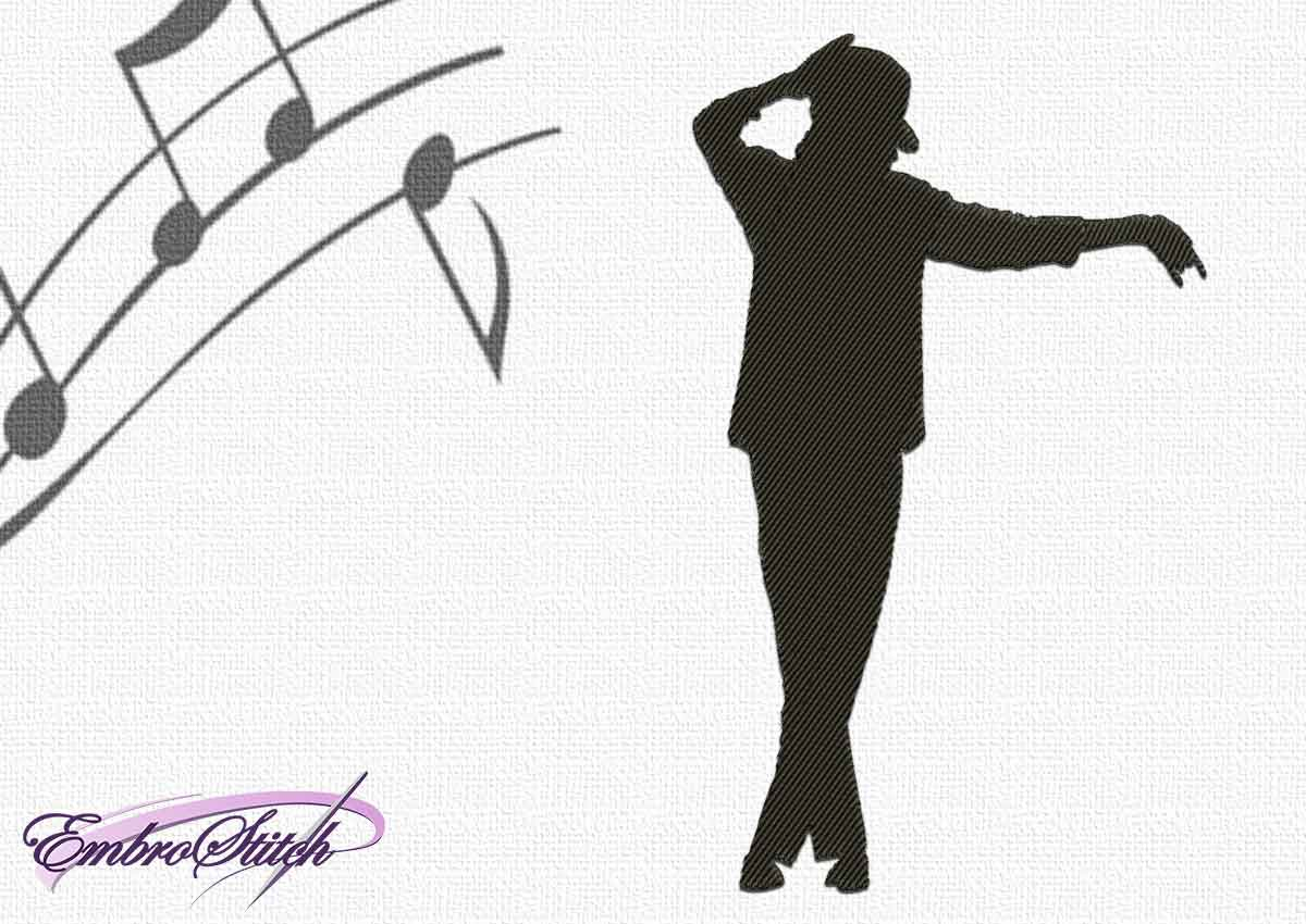 The embroidery design Michael Jackson in dance
