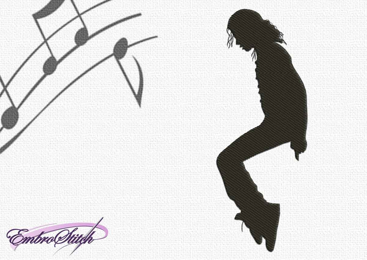 Michael Jackson Pose Embroidery Design - 4 sizes & 8 formats