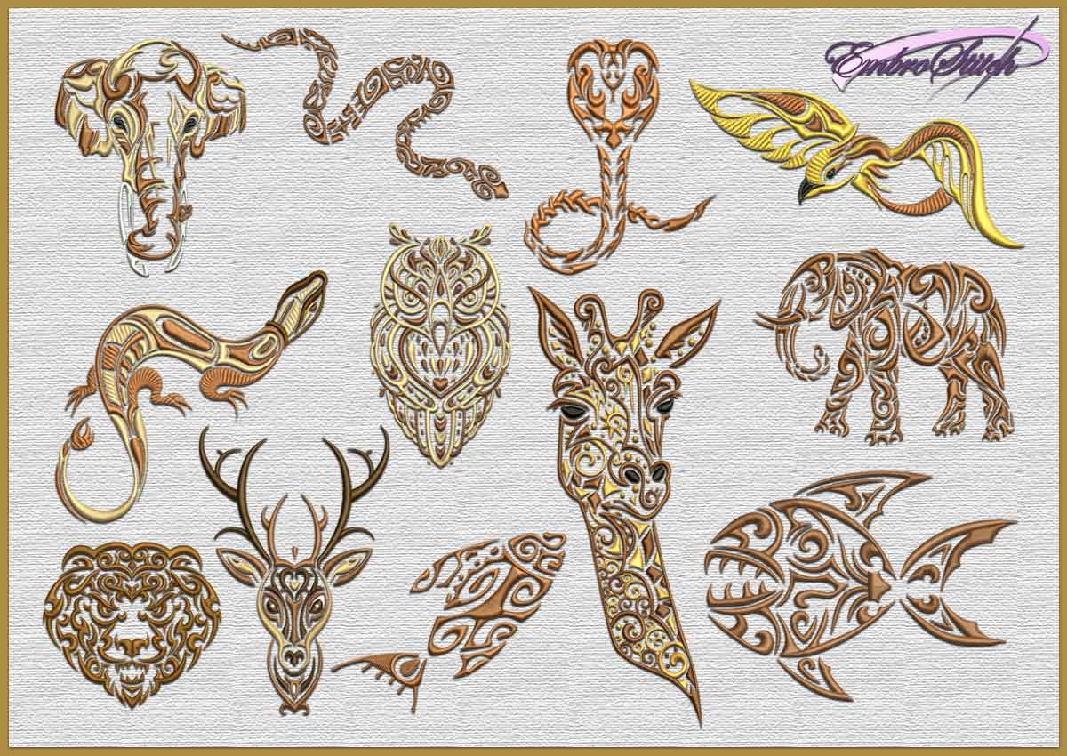 The pack of embroidery design Mix of tattoo animals