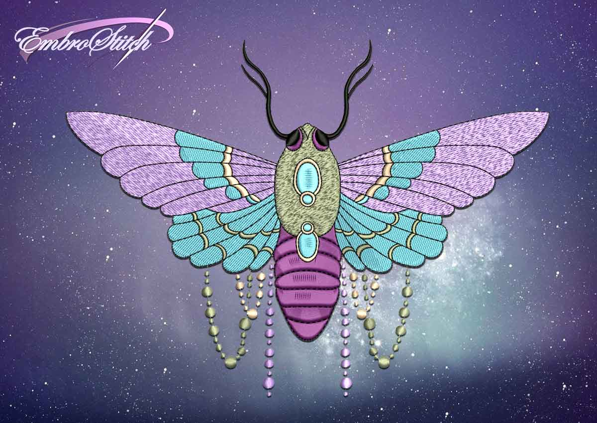 The embroidery design Moth with jewelry