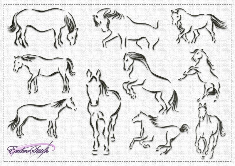 The pack of embroidery designs Multiplicity of Horses contains 10 designs, that were created only with satin stitching elements.