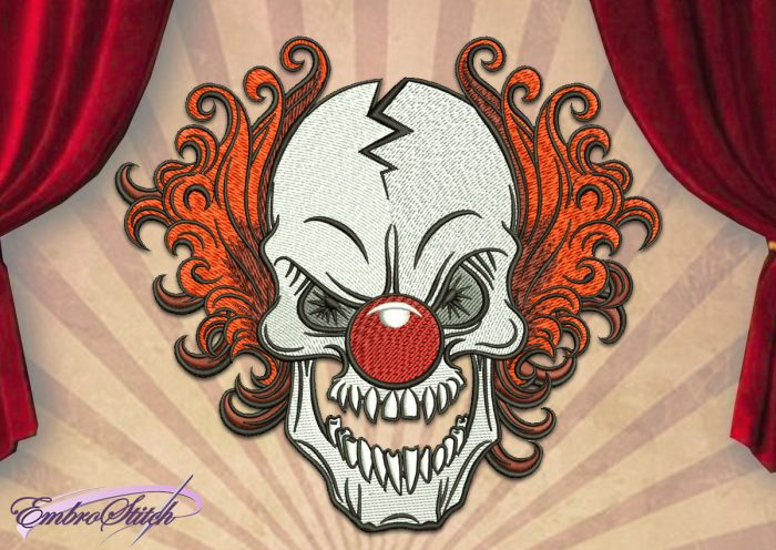 The embroidery design Sly Clown Pennywise the Dancing Clown was created in 8 emboidery formats.