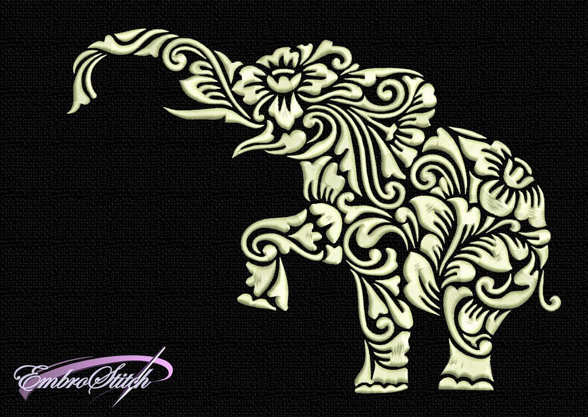 The embroidery design One-colored stylized elephant