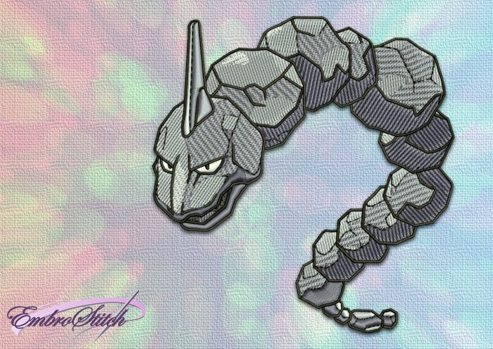 The embroidery design Onix Pokemon provides in 3 sizes and 8 embroidery formats