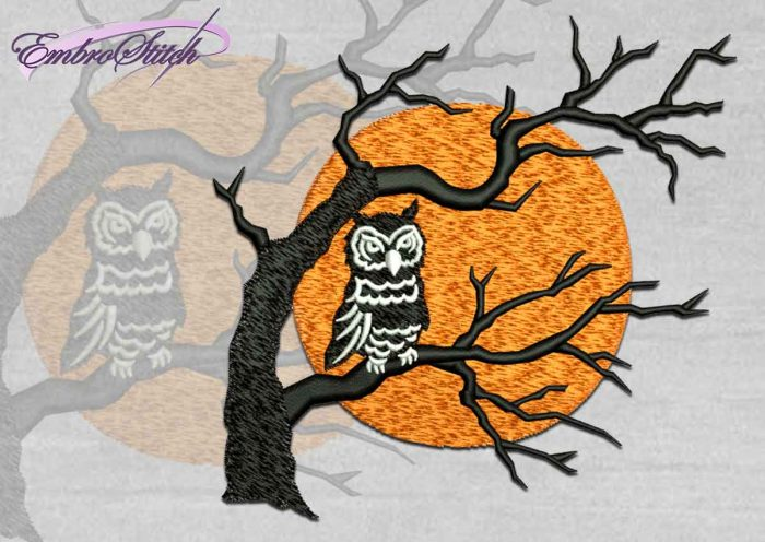 The high quality Halloween embroidery design Owl Silhouette
