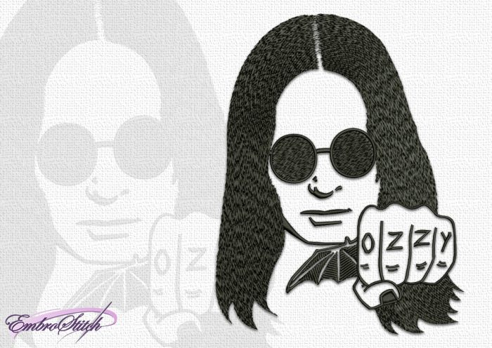 The embroidery design Ozzy Osbourne, one of the founders of hard rock and heavy metal.