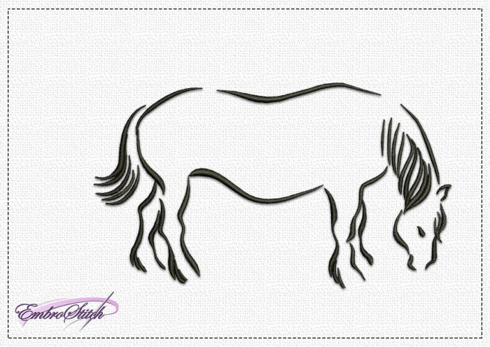 The embroidery design Pasturing Horse consists one-colored satin stitch elements.