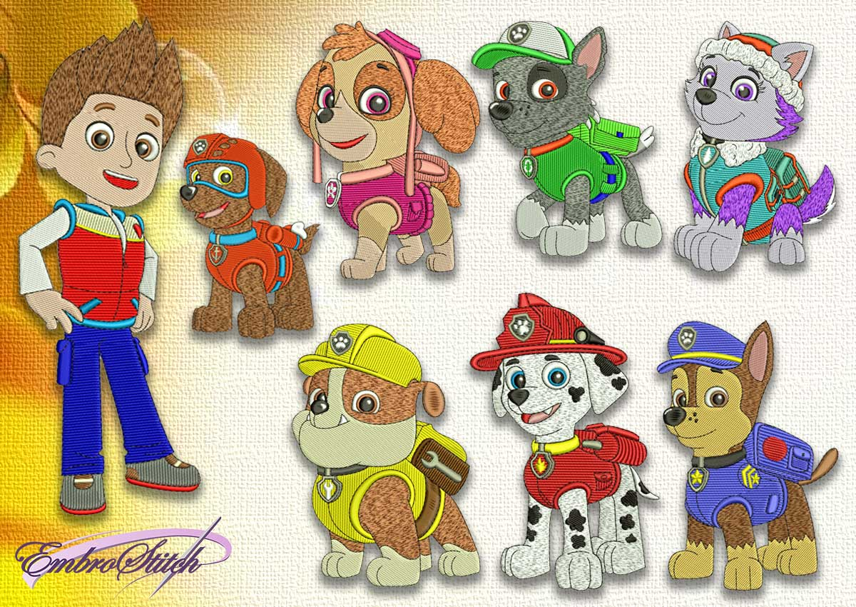 The pack of embroidery designs Paw patrol