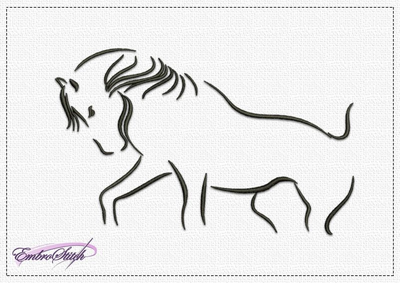 The embroidery design Persistent Horse depicts horse standing it's ground in the face of danger.