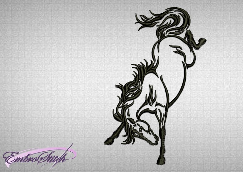 The embroidery design Playful Horse was created in tattoo style