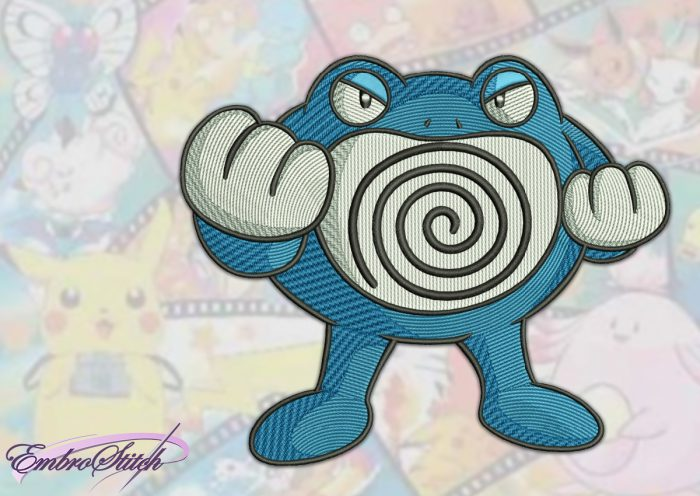 The embroidery design Poliwrath Pokemon was tested in EmbroStich studio