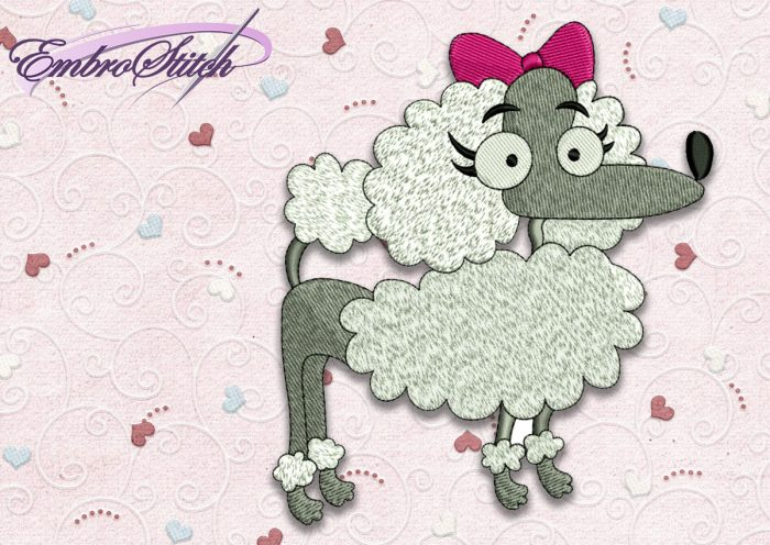 The high quality embroidery design Dog Poodle