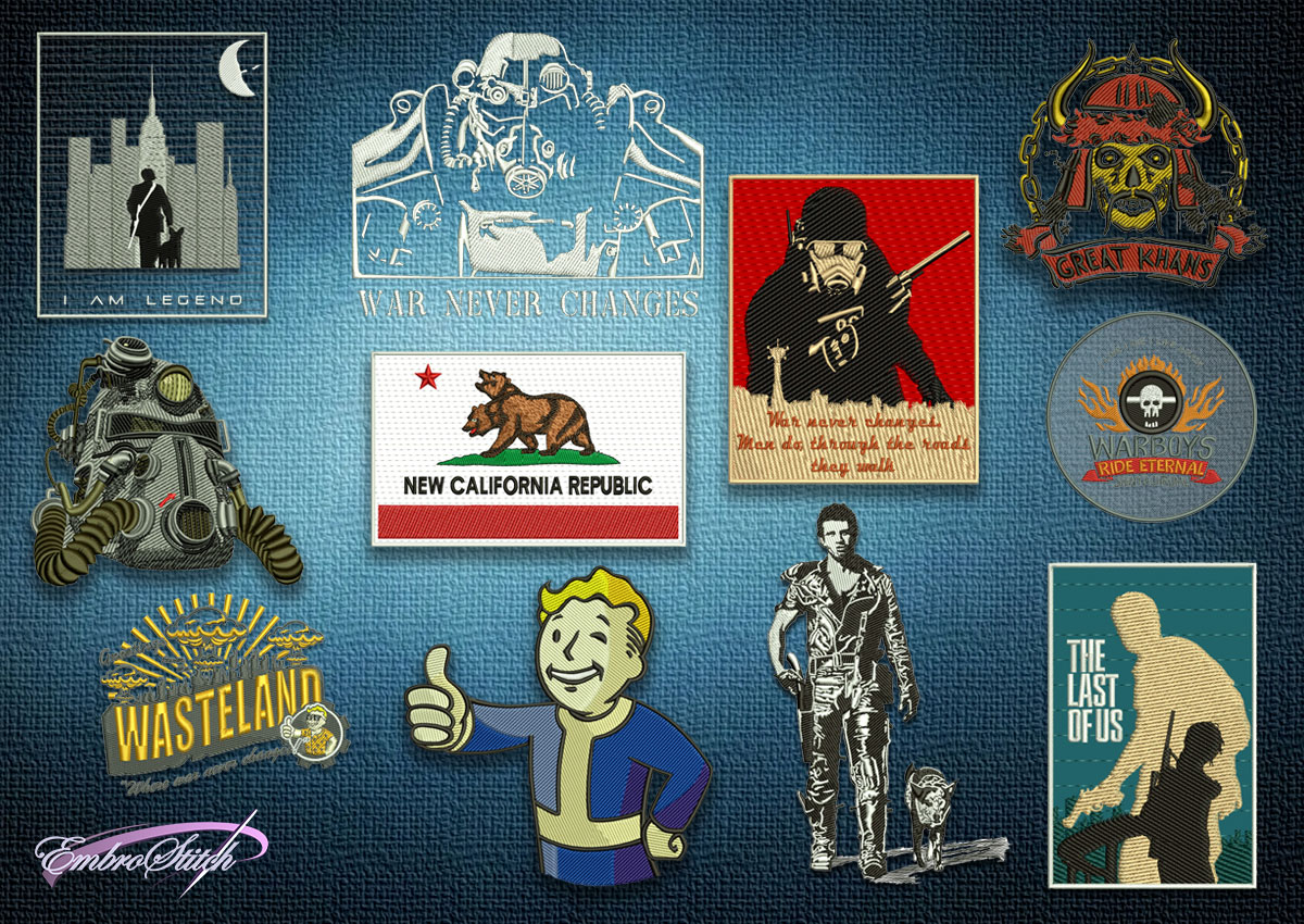 "The pack of embroidery designs Post Apocalypse consists 11 designs, which were taken from such universes as ""Fallout"", ""I Am Legend"" and ""Mad Max Fury Road""."
