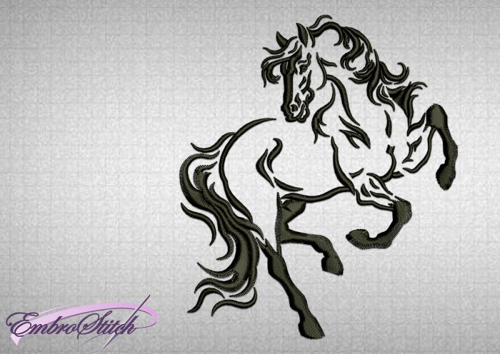 The embroidery design Prancing Horse was created by Embrostich company
