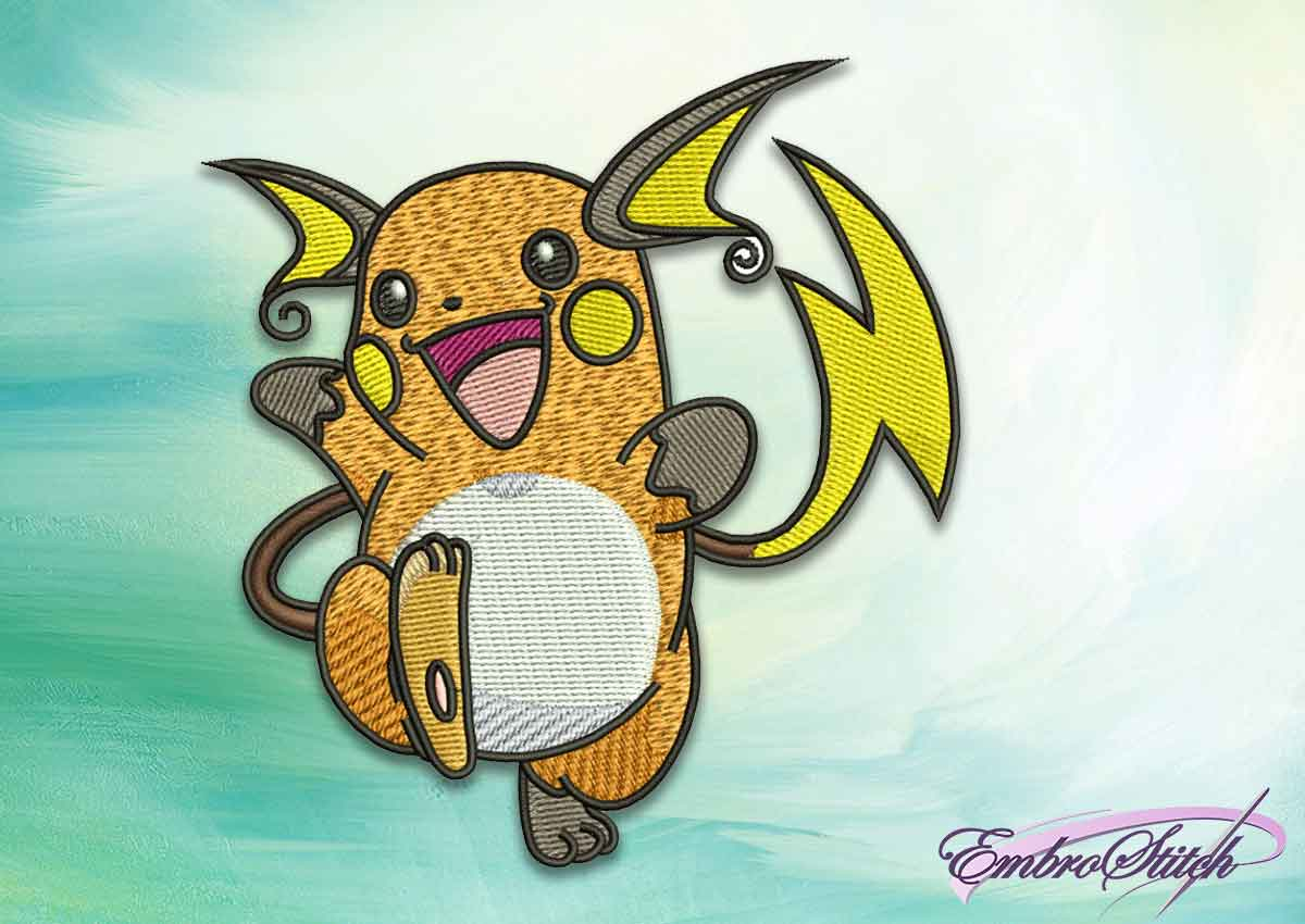 The embroidery design Raichu pokemon