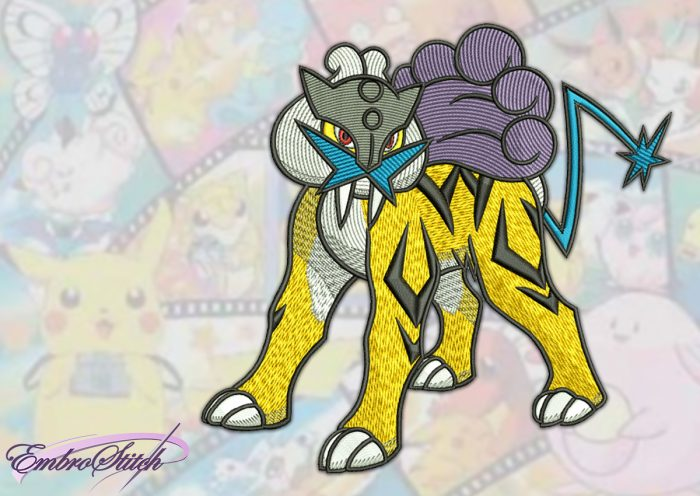 The embroidery design Raikou Pokemon, that is a four-legged, feline creature