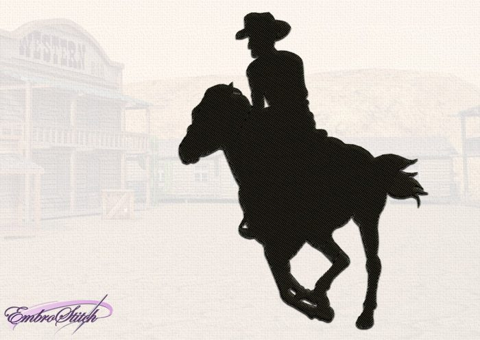 The embroidery design Resolute Cowboy consists of a single element with filling stitching.