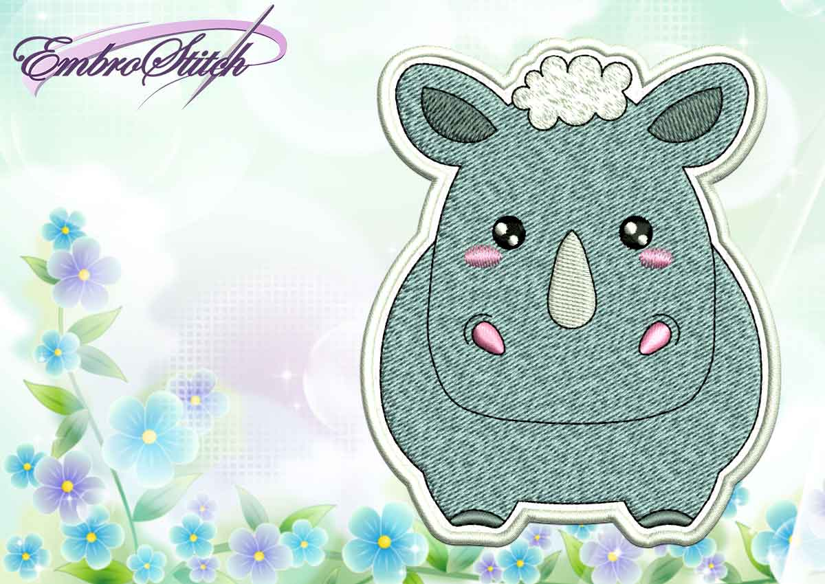 The cute embroidery design Kawaii Rhinoceros