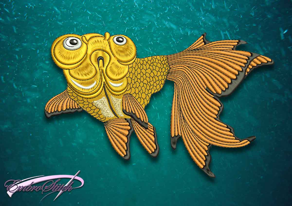 The superior quality embroidery design Rising goldfish