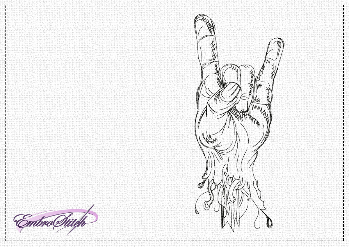 The high quality embroidery design Rock and roll symbol