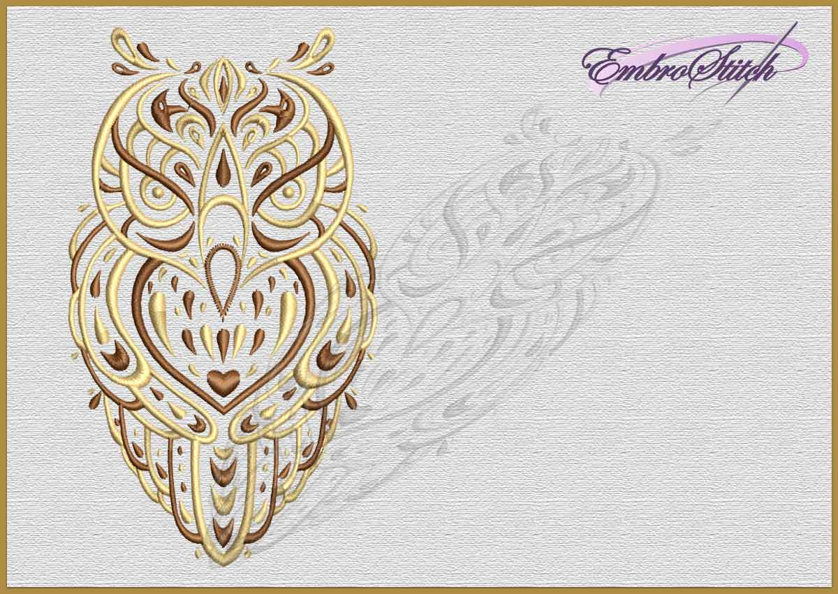 prodigious Owl Embroidery Pattern Part - 3: The embroidery design Romantic Owl