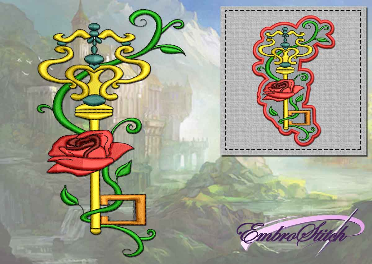 The embroidery design Rose&Key