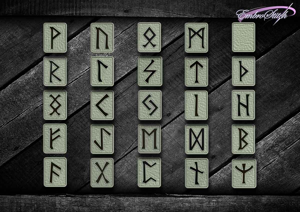 The pack of embroidery design Runes