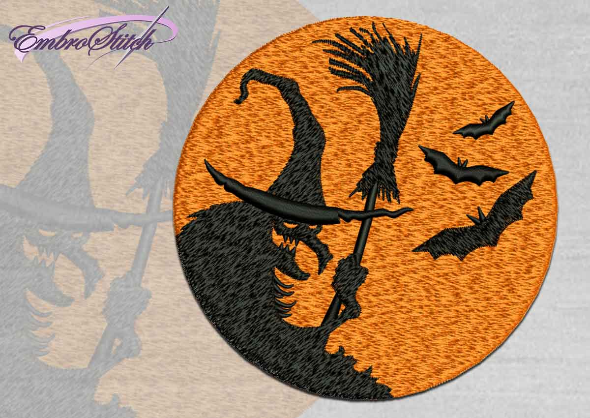 The high quality Halloween embroidery design Scary witch and bats